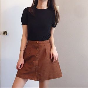 Vintage A line faux suede button down skirt